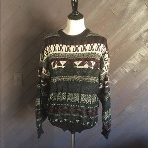 Vintage Geometric Sweater with Leather Accents